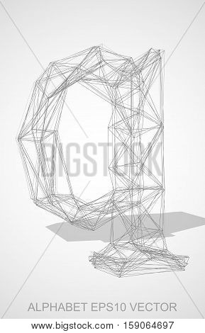 Abstract illustration of a Pencil sketched lowercase letter Q with Transparent Shadow. Hand drawn 3D Q for your design. EPS 10 vector illustration.