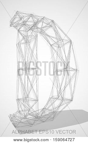 Abstract illustration of a Pencil sketched uppercase letter D with Transparent Shadow. Hand drawn 3D D for your design. EPS 10 vector illustration.