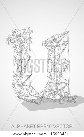 Abstract illustration of a Pencil sketched lowercase letter U with Transparent Shadow. Hand drawn 3D U for your design. EPS 10 vector illustration.