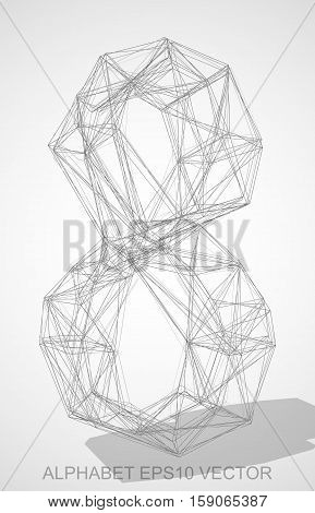 Abstract illustration of a Pencil sketched 8 with Transparent Shadow. Hand drawn 3D 8 for your design. EPS 10 vector illustration.