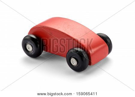 Simple Stylized Red Wooden Toy Car