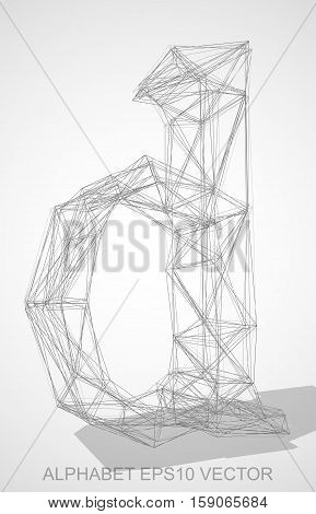 Abstract illustration of a Pencil sketched lowercase letter D with Transparent Shadow. Hand drawn 3D D for your design. EPS 10 vector illustration.