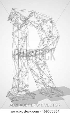 Abstract illustration of a Pencil sketched uppercase letter R with Transparent Shadow. Hand drawn 3D R for your design. EPS 10 vector illustration.