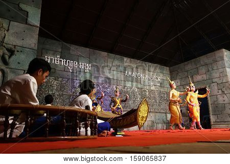 SIEM REAP CAMBODIA - OCT 20 2016: Apsara dancers in the end of a performance Siem Reap Cambodia