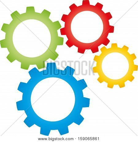 Four gears, colored, metal industry and locksmith logo