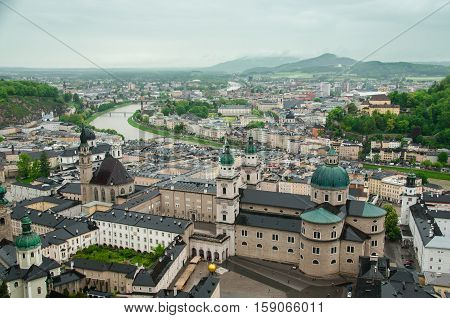 Top view of the Salzach river and the old city in center of Salzburg, Austria, from the walls of the fortress