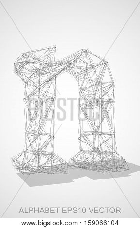 Abstract illustration of a Pencil sketched lowercase letter N with Transparent Shadow. Hand drawn 3D N for your design. EPS 10 vector illustration.