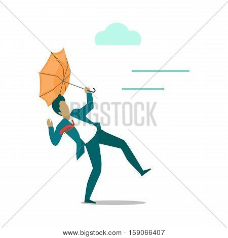 Strong wind blowing on man with umbrella and turned it out. Natural disaster. Deadly strong wind ruins everything. Hurricane damages person s life. Catastrophe caused wind. Vector illustration