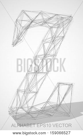 Abstract illustration of a Pencil sketched uppercase letter Z with Transparent Shadow. Hand drawn 3D Z for your design. EPS 10 vector illustration.