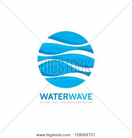 Blue water wave - vector business logo template concept illustration. Abstract creative sign. Design element.