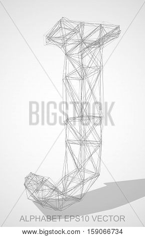 Abstract illustration of a Pencil sketched uppercase letter J with Transparent Shadow. Hand drawn 3D J for your design. EPS 10 vector illustration.
