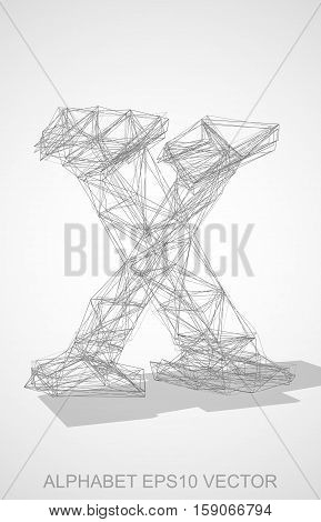 Abstract illustration of a Pencil sketched lowercase letter X with Transparent Shadow. Hand drawn 3D X for your design. EPS 10 vector illustration.