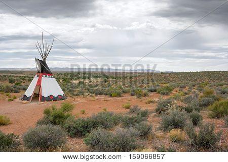 Indian tepee standing in the prairie in Arizona