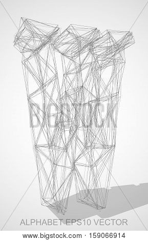 Abstract illustration of a Pencil sketched uppercase letter W with Transparent Shadow. Hand drawn 3D W for your design. EPS 10 vector illustration.