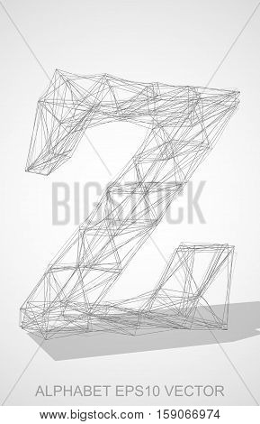 Abstract illustration of a Pencil sketched lowercase letter Z with Transparent Shadow. Hand drawn 3D Z for your design. EPS 10 vector illustration.