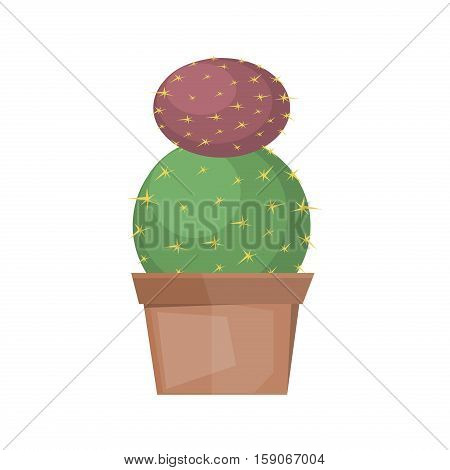 Cactus desert plant blossom flora succulent cartoon cacti. Prickly cactus plant thorny spiny. Desert mexican tropical cactus summer garden plant. Houseplant exotic vector cactus green flower desert.