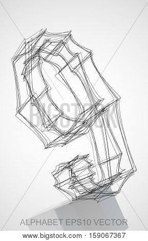 Abstract illustration of a Ink sketched 9 with Reflection. Hand drawn 3D 9 for your design. EPS 10 vector illustration.
