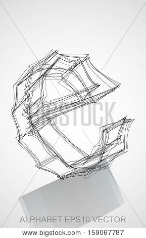 Abstract illustration of a Ink sketched lowercase letter E with Reflection. Hand drawn 3D E for your design. EPS 10 vector illustration.