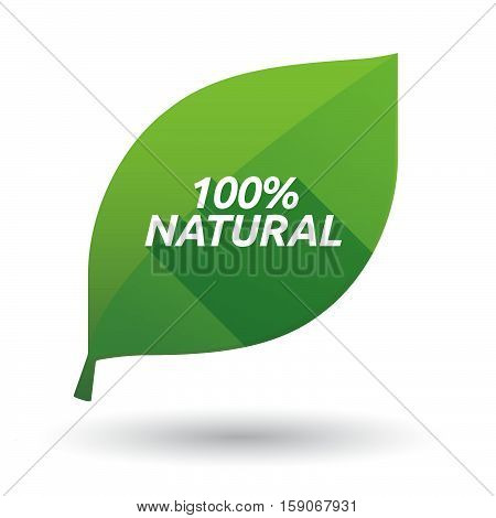 Isolated Leaf Icon With    The Text 100% Natural