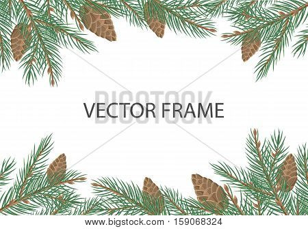 Vector frame with pine tree brunches, cones and copyspace. Flat style. Evergreen tree decoration. Celebrating winter holidays. For Christmas and New Year greeting cards, seasonal advertising design