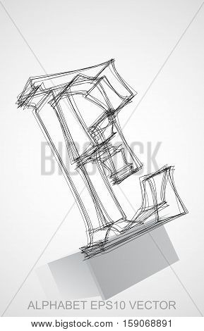 Abstract illustration of a Ink sketched uppercase letter E with Reflection. Hand drawn 3D E for your design. EPS 10 vector illustration.