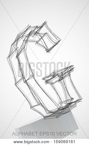 Abstract illustration of a Ink sketched uppercase letter G with Reflection. Hand drawn 3D G for your design. EPS 10 vector illustration.