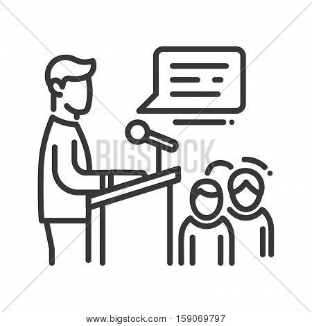 Public Speaker - vector line design single isolated icon, pictogram. Conference speech at the tibune