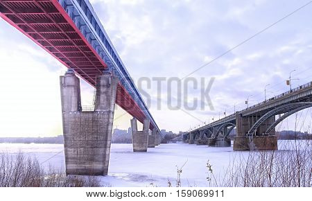 bridge over the river covered with ice