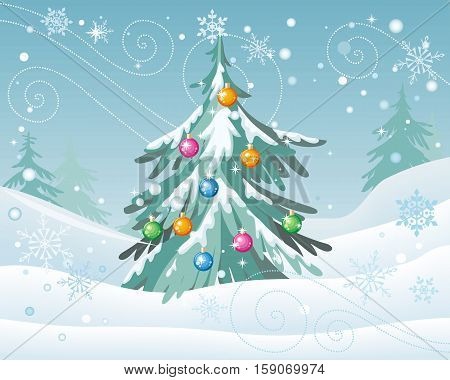 Winter holidays concept vector. Flat style. Christmas tree decorated colored toys sanding in snowy forest during a blizzard. Christmas and New Year celebrating. For greeting card, invitation design