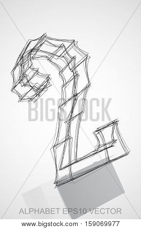 Abstract illustration of a Ink sketched 2 with Reflection. Hand drawn 3D 2 for your design. EPS 10 vector illustration.