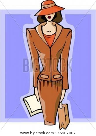 Businesswoman with handbag and documents. Check my portfolio for many more images of this series.