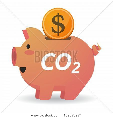 Isolated Piggy Bank With    The Text Co2