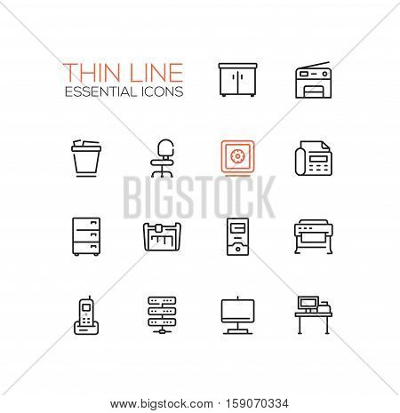Office Supplies - modern vector plain simple thin line design icons and pictograms set. Locker, copier, chair, safe, fax, trash basket, cabinet, computer, plotter, cutter, phone, server work place display poster