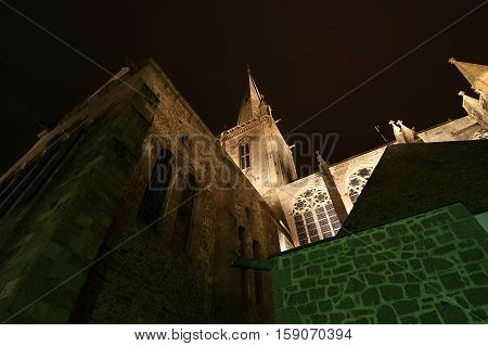 Saint-malo Cathedral At Night-- Cathedral Of St. Vincent, Brittany, France