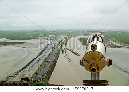 Telescope Viewer And  View From Mont Saint-michel, Normandy, France--one Of The Most Visited Tourist