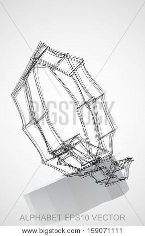 Abstract illustration of a Ink sketched uppercase letter Q with Reflection. Hand drawn 3D Q for your design. EPS 10 vector illustration.