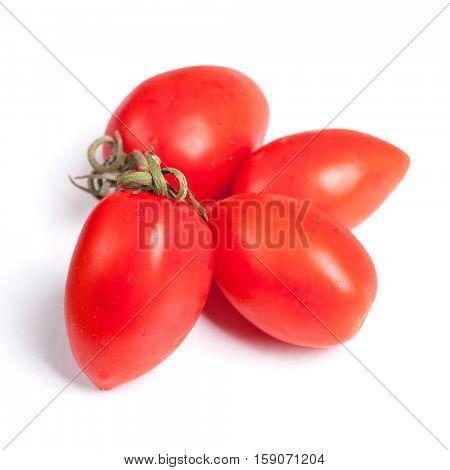 Cherry plump tomato isolated on white background