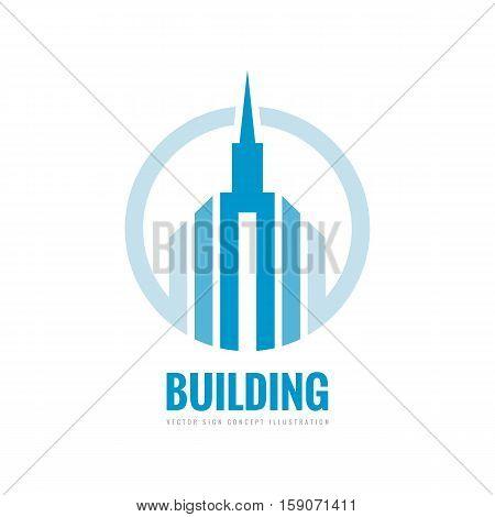 Real estate - vector logo template concept illustration. Building skyscraper silhouette sign in circle. Design element.