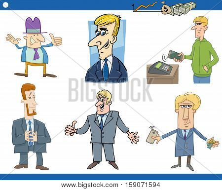 Cartoon Illustration Set of Funny Businessman Characters and Business Concepts