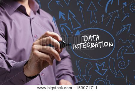 Technology, Internet, Business And Marketing. Young Business Man Writing Word: Data Integration