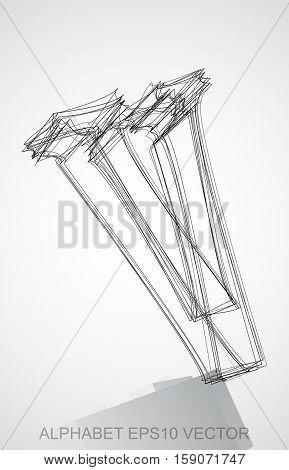 Abstract illustration of a Ink sketched uppercase letter V with Reflection. Hand drawn 3D V for your design. EPS 10 vector illustration.