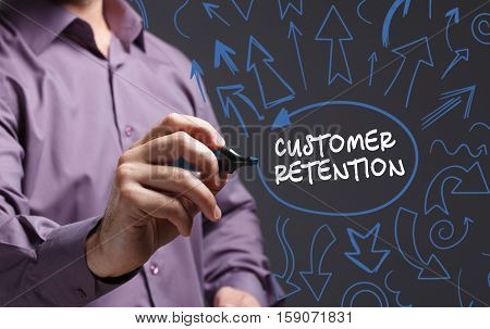 Technology, Internet, Business And Marketing. Young Business Man Writing Word: Customer Retention