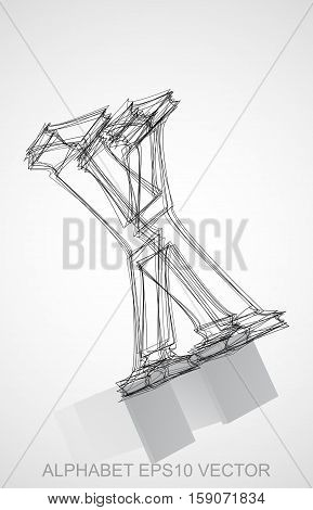 Abstract illustration of a Ink sketched uppercase letter X with Reflection. Hand drawn 3D X for your design. EPS 10 vector illustration.