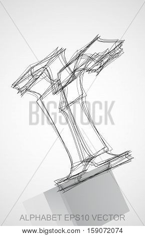 Abstract illustration of a Ink sketched lowercase letter R with Reflection. Hand drawn 3D R for your design. EPS 10 vector illustration.