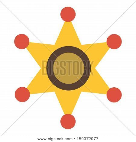 Gold star of sheriff icon. Flat illustration of gold star of sheriff vector icon for web design