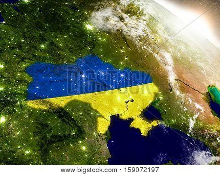 Ukraine With Flag In Rising Sun