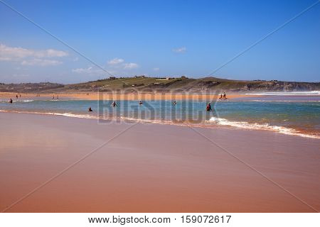 LIENCRES DUNES SPAIN - AUGUST 21: View of the Liencres dunes nature reserve in the Cantabrian sea on August 21 2016