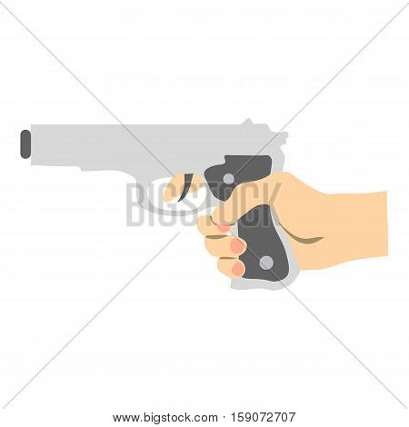 Hand with gun icon. Flat illustration of hand with gun vector icon for web design