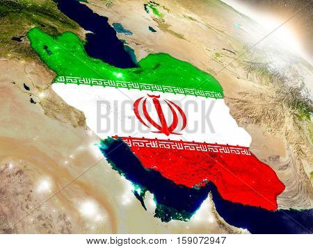 Iran With Flag In Rising Sun