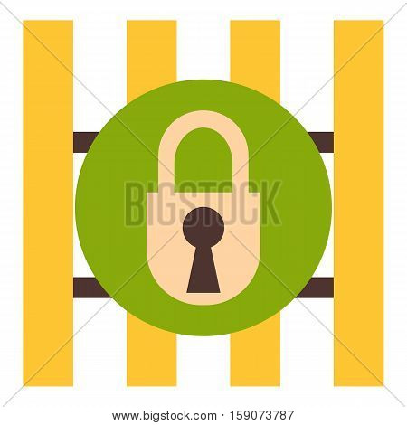 Iron bars door with padlock icon. Flat illustration of iron bars door with padlock vector icon for web design